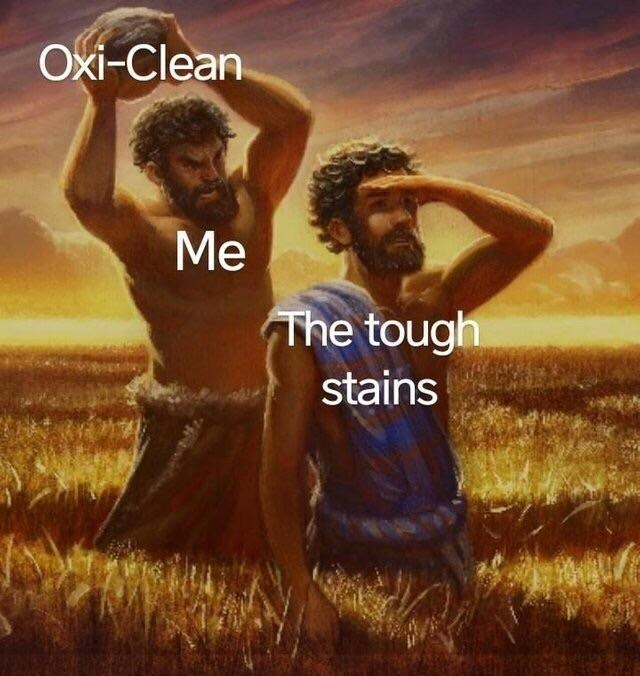 Funny classical art meme about oxi-clean and cain and abel.