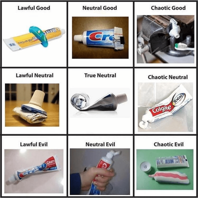 Funny meme about toothpaste, toothpaste alignment chart.