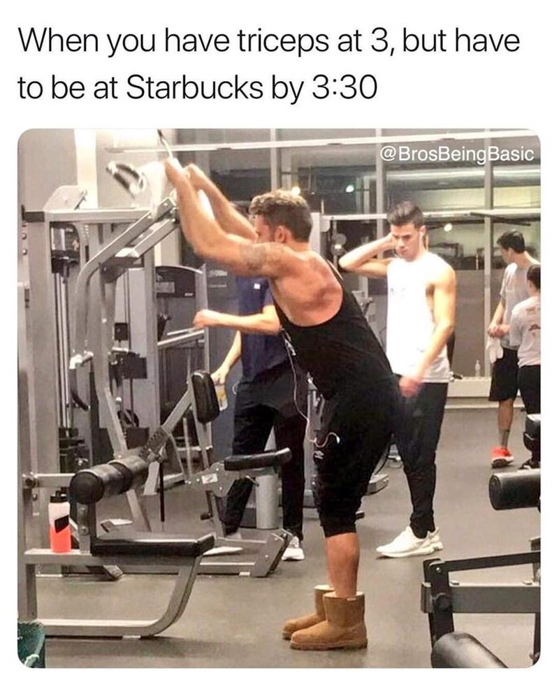 basic bros wearing uggs at the gym
