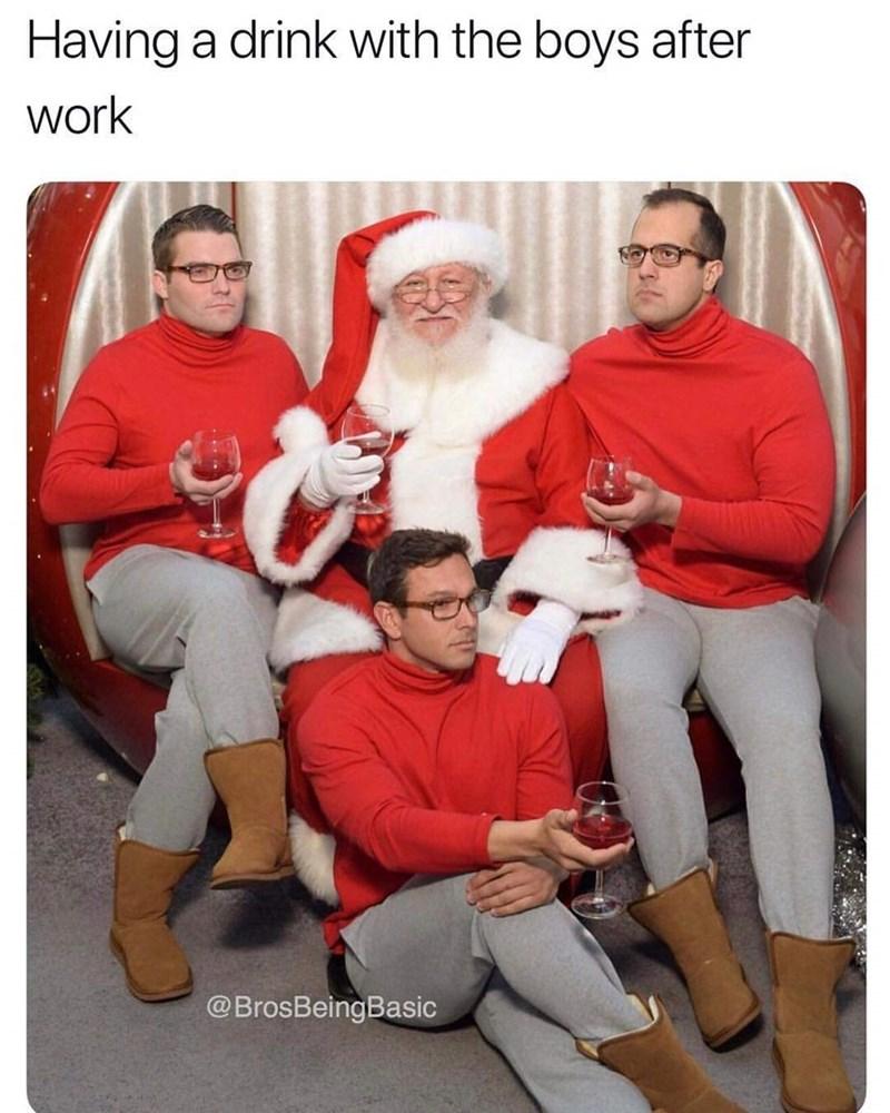 basic bros wearing uggs and sitting on santas lap