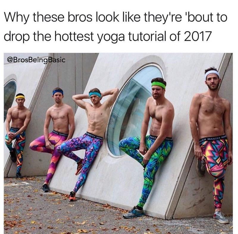 basic bros dressed in leggings and posing