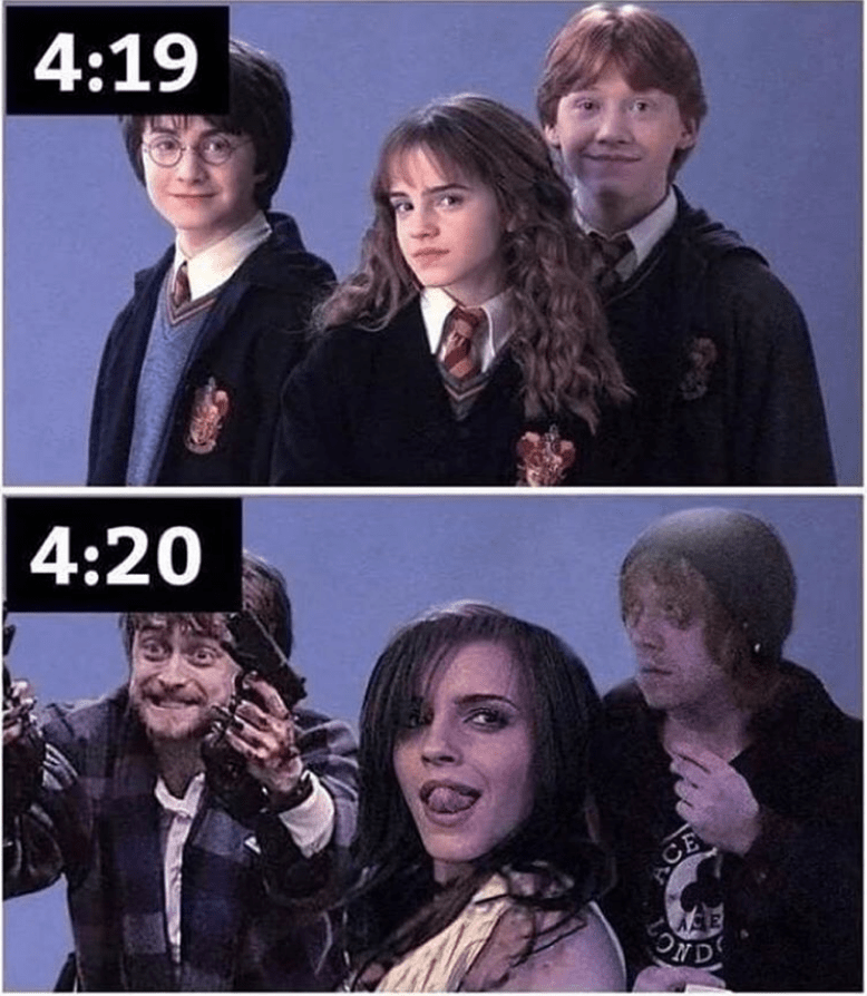Funny 4:19/4:20 meme about harry potter.