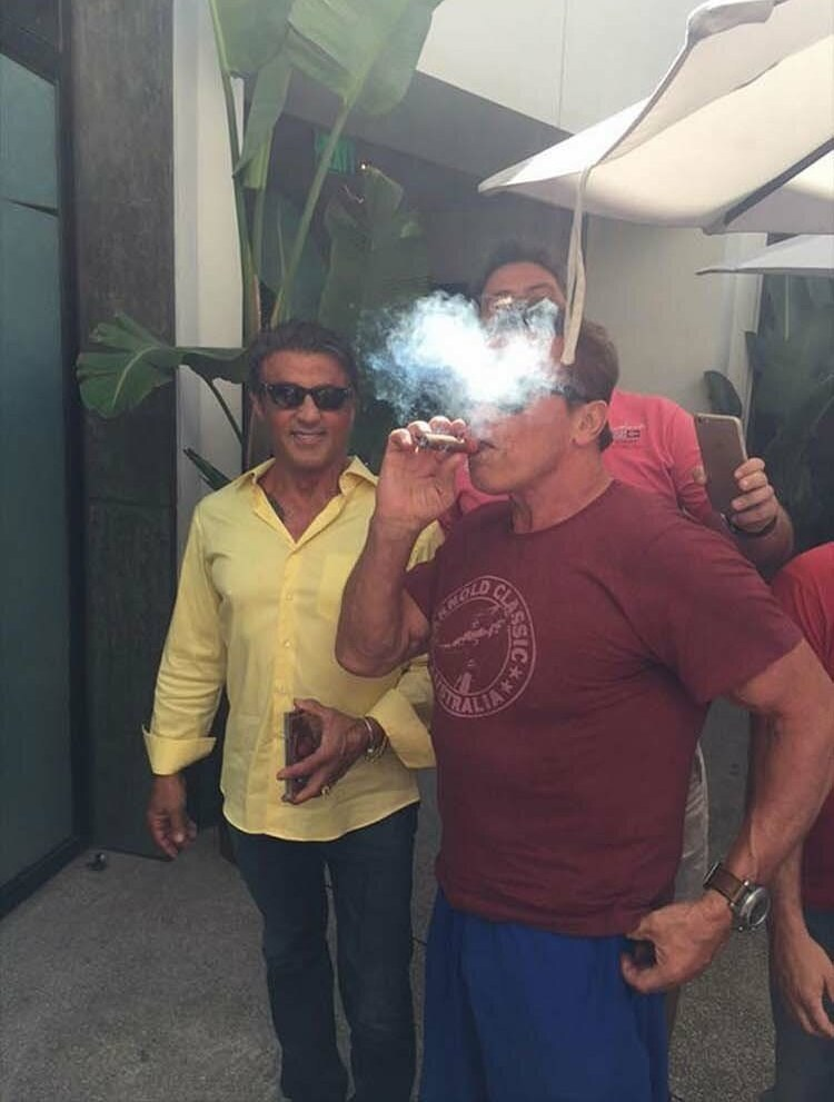 celebrity photobomb by Sylvester stallone and Arnold Schwarzenegger smoking
