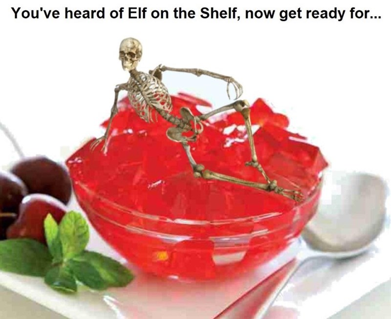 funny meme of a skeleton sitting on a bowl of Jell-O