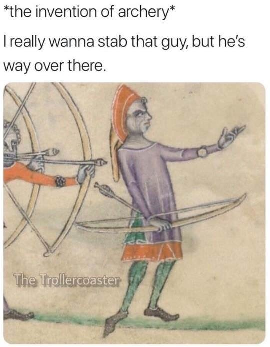 funny meme about how archery was invented
