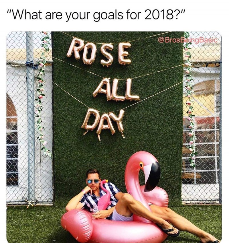 """Inflatable - """"What are your goals for 2018?"""" @BrosEngBasic ROSE ALL PAY"""