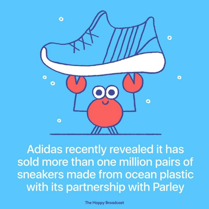 Text - OO Adidas recently revealed it has sold more than one million pairs of sneakers made from ocean plastic with its partnership with Parley The Happy Broadcast
