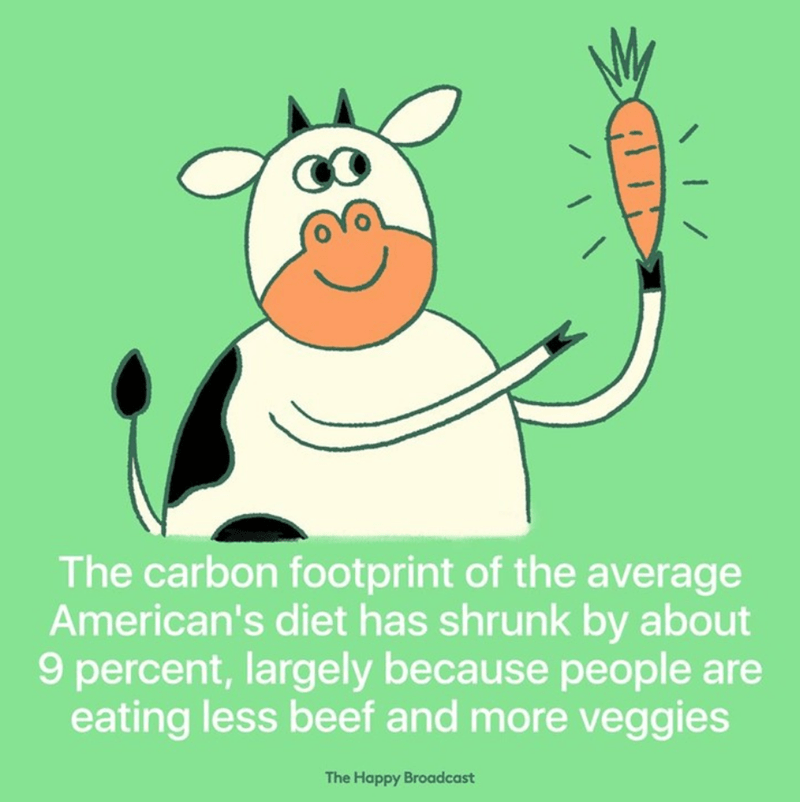 Cartoon - The carbon footprint of the average American's diet has shrunk by about 9 percent, largely because people are eating less beef and more veggies The Happy Broadcast