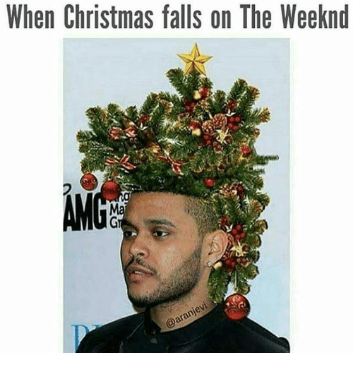 "Caption that reads, ""When Christmas falls on The Weeknd"" above a pic of The Weeknd with a Christmas tree on his head"