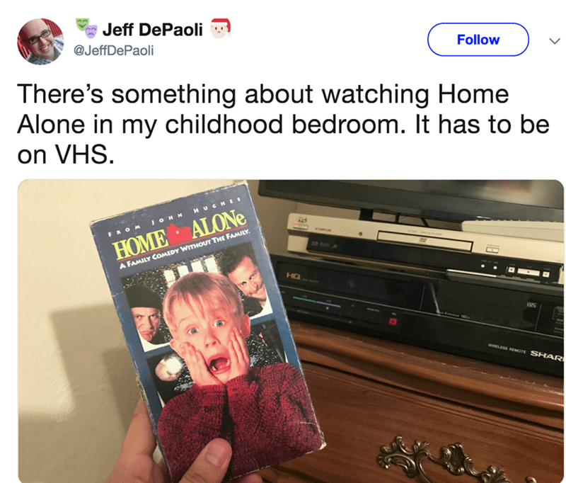 Product - Jeff DePaoli @JeffDePaoli Follow There's something about watching Home Alone in my childhood bedroom. It has to be on VHS. H UGHES JOHN FROM HOME ALONE A FAMILY COMEDY WITHOUT THE FAMILY HQ WRELESS REMOTE SHAR
