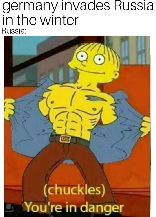 funny meme about invading Russia in winter with pic of Ralph from The Simpsons revealing a muscular body
