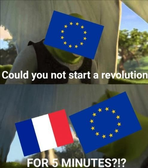 funny meme about the UN telling France to stop with their rebellions with pics from the movie Shrek