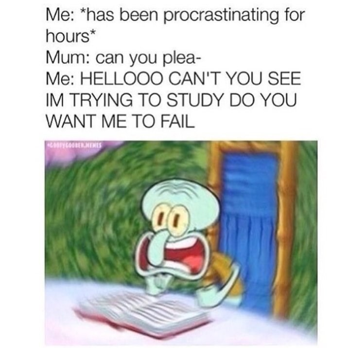 "Caption that reads, ""Me: *Has been procrastinating for hours;* Mom: Can you please- Me: Hello can't you see I'm trying to study do you want me to fail"" above a pic of Squidward yelling while reading a book"