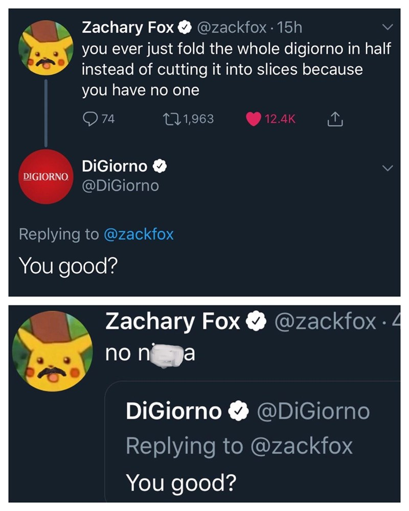 funny meme of twitter exchange between lonely person and the DiGiorno account