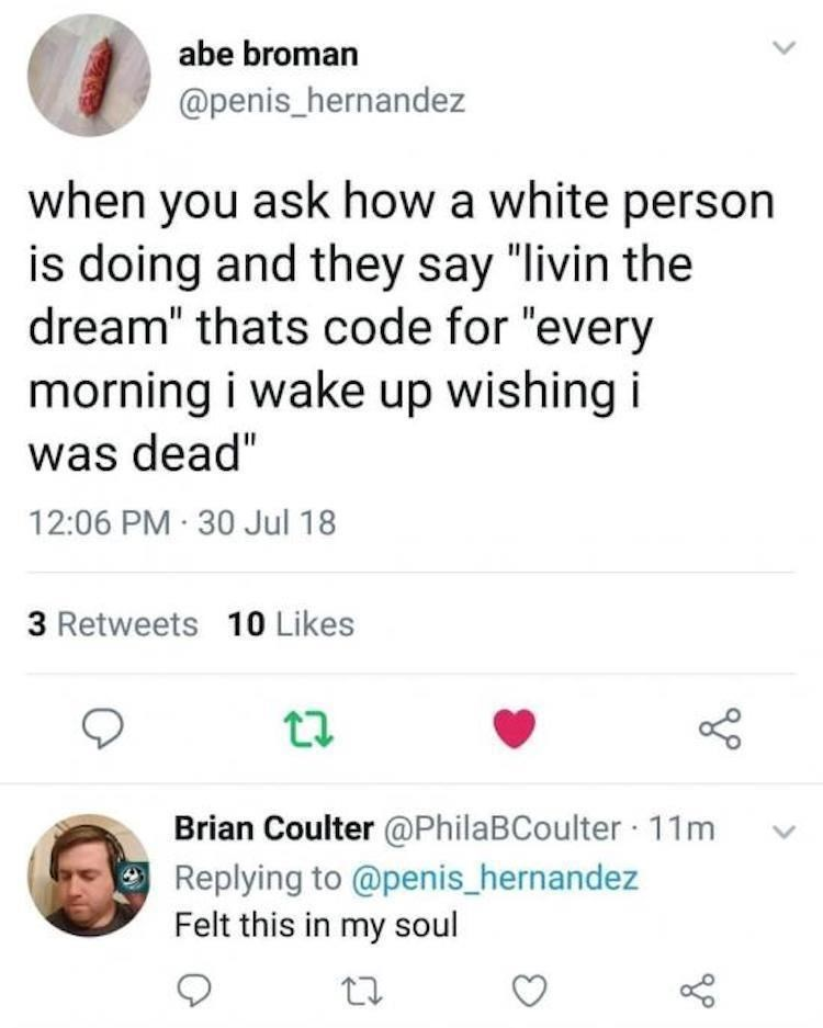 funny meme about white people depression