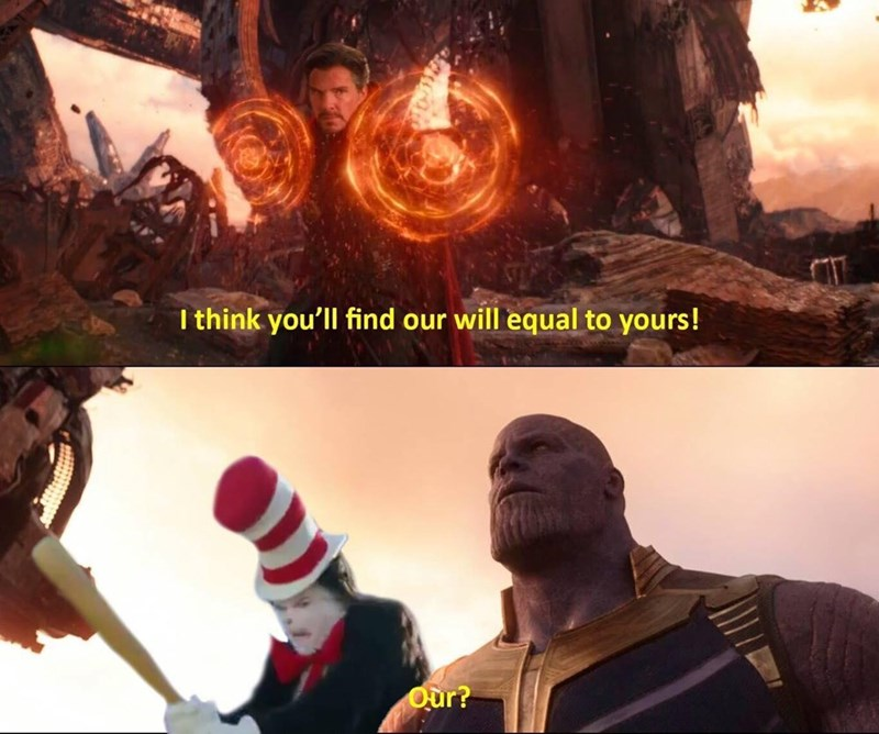 funny meme with Cat in the Hat sneaking up behind Thanos