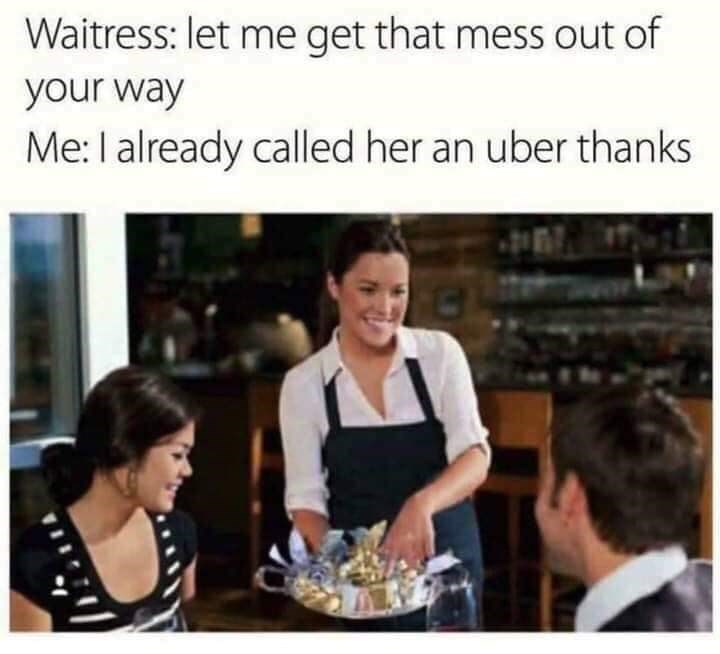 funny meme about calling your date trash with pic of couple speaking to a waitress