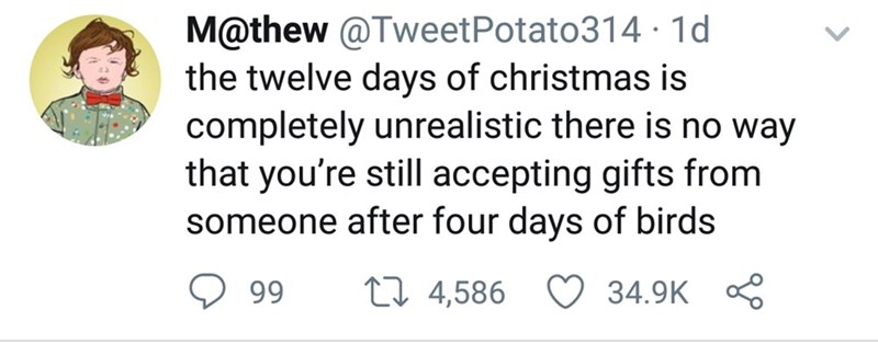 Text - M@thew @TweetPotato314· 1d the twelve days of christmas is completely unrealistic there is no way that you're still accepting gifts from someone after four days of birds ♡ 34.9K 27 4,586 99