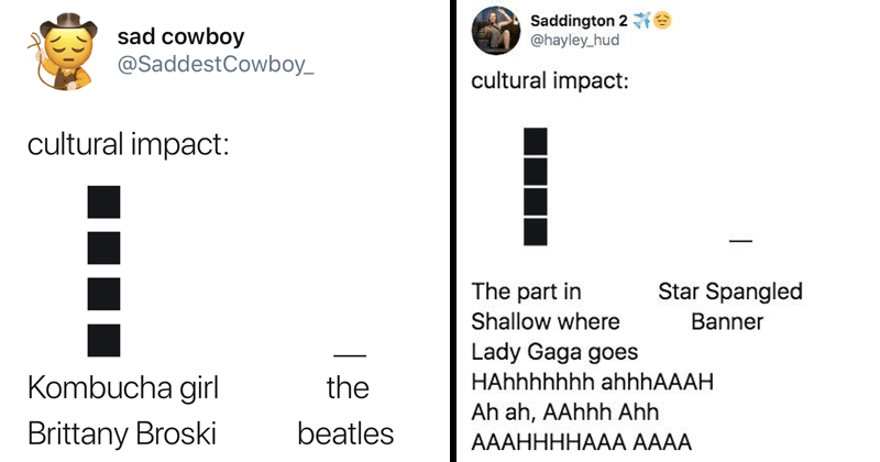Funny tweets about cultural impact, lady gaga, the beatles.