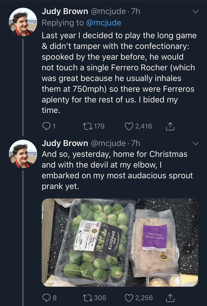 tweet by daughter explaining how she pranked father with Ferrero Rocher