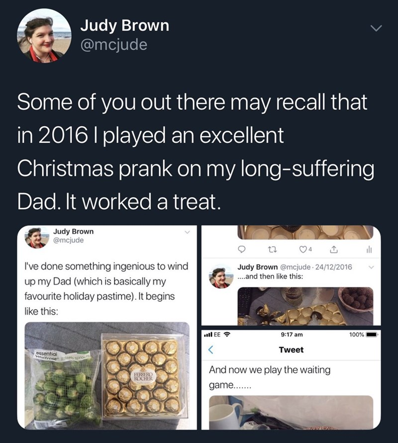 tweet by daughter reminiscing pranking her father in the past