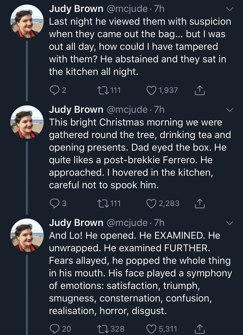 tweets by daughter describing father as he realizes his Ferrero Rochers have been messed with