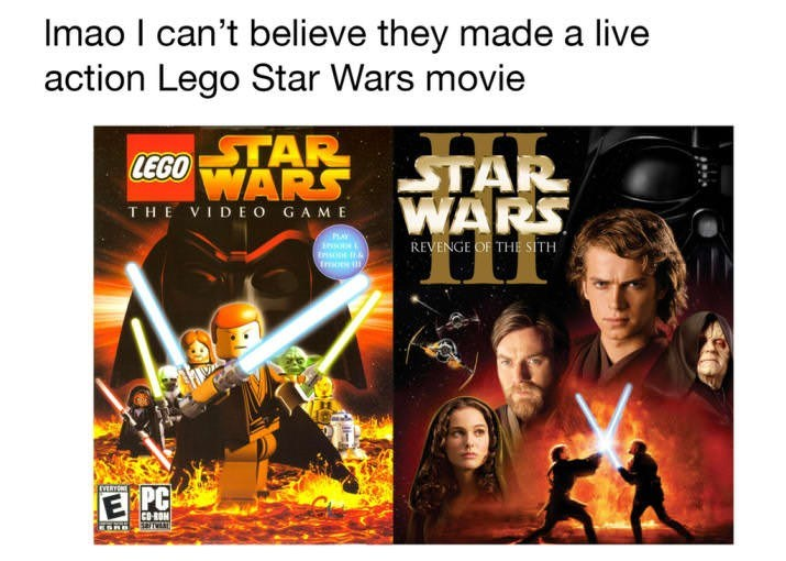 prequel meme about Revenge of the Sith being based off a Lego Star Wars movie