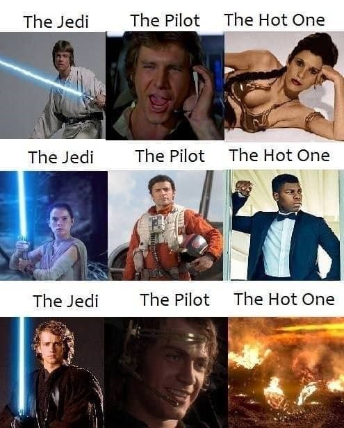 prequel meme assigning roles for every Star Wars trios, with Anakin getting every role in the prequels