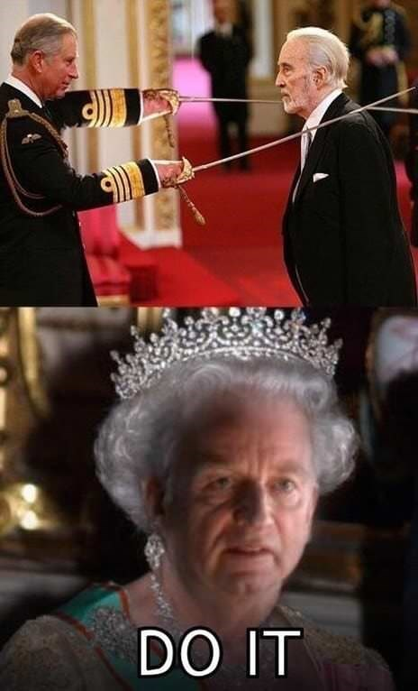 pic of Christopher Lee getting knighted above pic of the queen with Palpatine's face photoshopped on her, mimicking Count Dooku's death scene