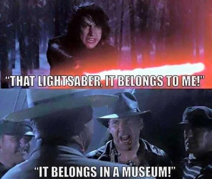meme merging scenes of Kylo Ren and Indiana Jones together