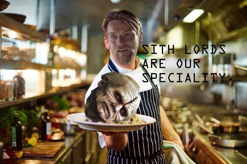 meme about Sith lords being Obi Wan's specialty with pic of him as a chef holding Palpatine's head on a plate