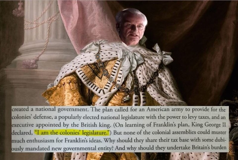 meme of Palpatine as King George II