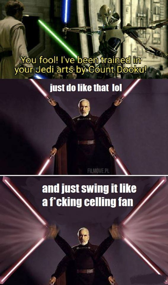 prequel meme about how Count Dooku trained Grievous to use lightsabers