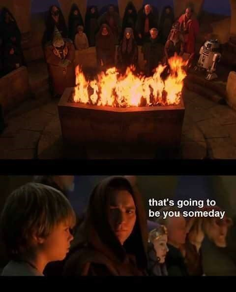 prequel meme with Obi Wan telling child Anakin he will get burnt one day