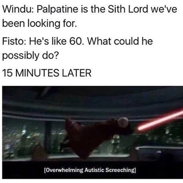 prequel meme about Palpatine being unusually agile for his age