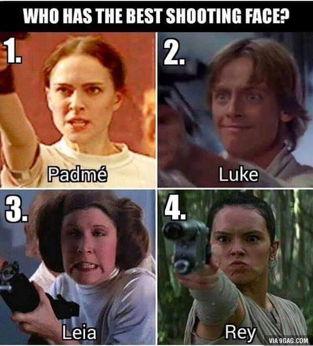 meme about the silly shooting faces various Star Wars characters have shown in the movies