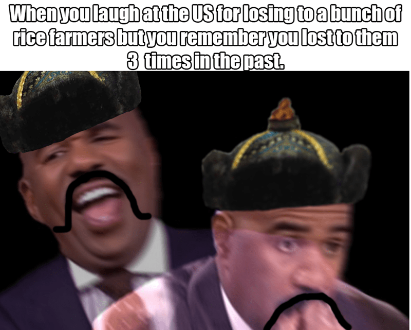 dank history meme with Steve Harvey as Japan laughing at the US for losing to China