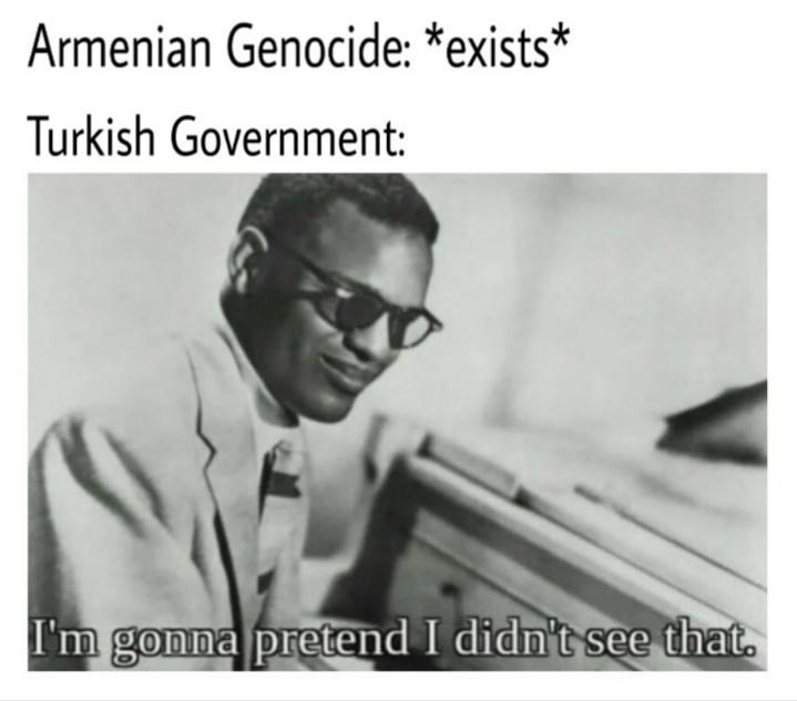 dank history meme about Turkey denying the Armenian genocide with pic of Ray Charles