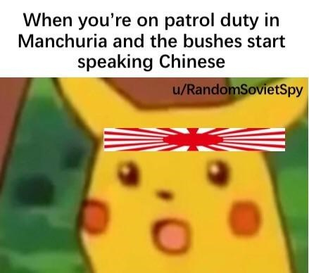 dank history meme about the Sino Japanese war with pic of surprised Pikachu