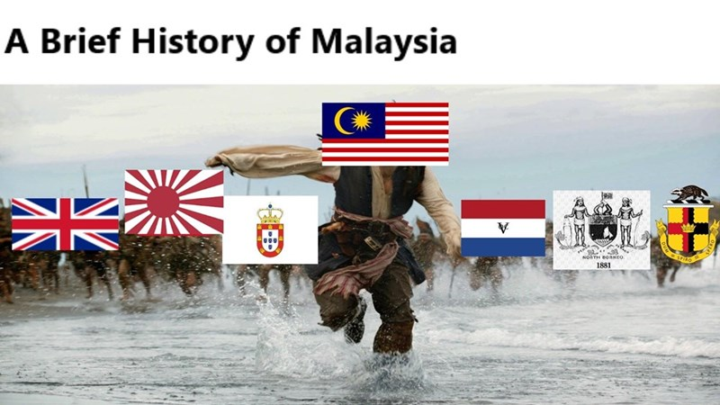 dank history meme about Malaysia getting constantly attacked with pic of Jack Sparrow running in the water