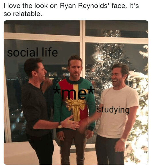 Ryan Reynolds trying to balance social life and studying in pic from Christmas prank