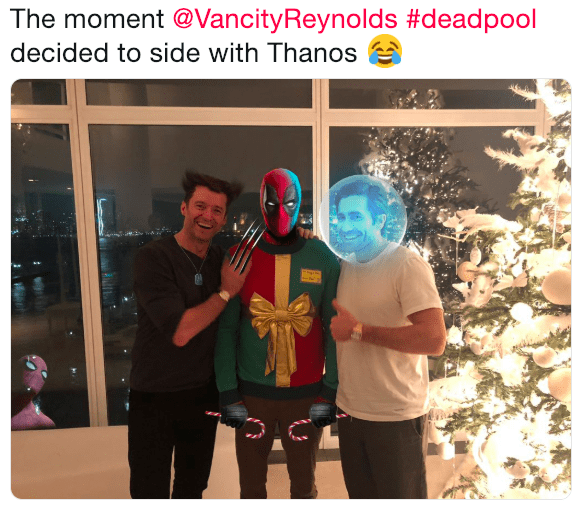 Ryan Reynolds prank meme showing Deadpool deciding to turn on Wolverine