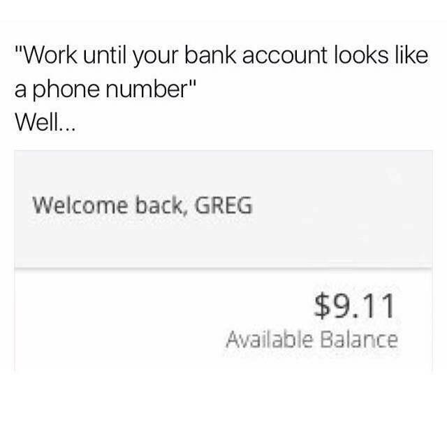 meme about being poor and having an amount of money the length of an emergency number