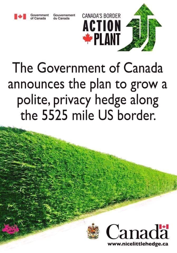 meme about Canada building a wall along its US border