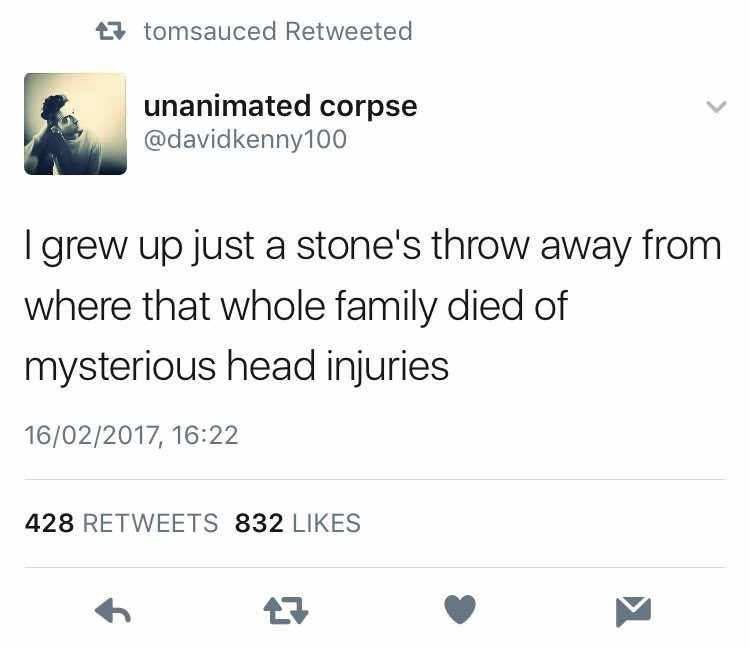 tweet suggesting a person killed an entire family by throwing stones at them