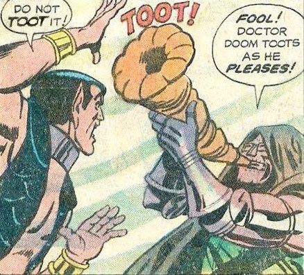comic panel of Namor trying to stop Doctor Doom from tooting a horn