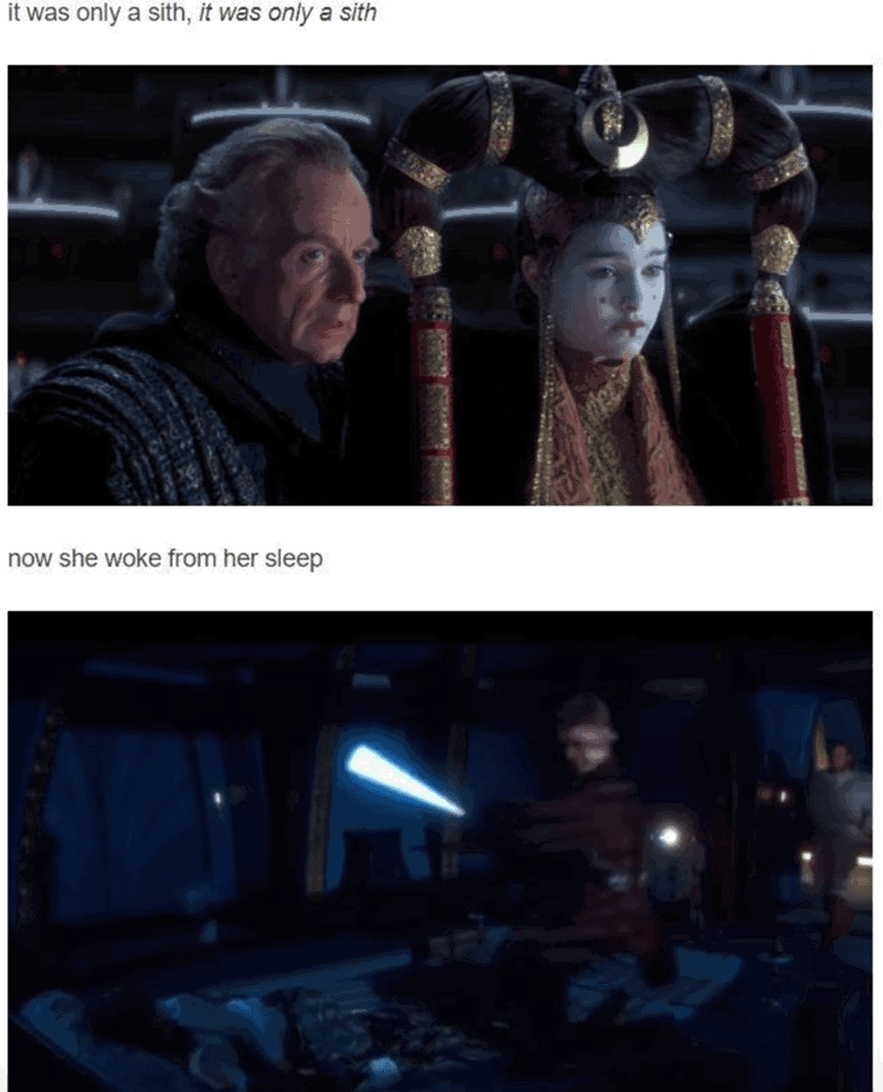 Mr Brightside Star Wars meme with Queen Amidala and Palpatine