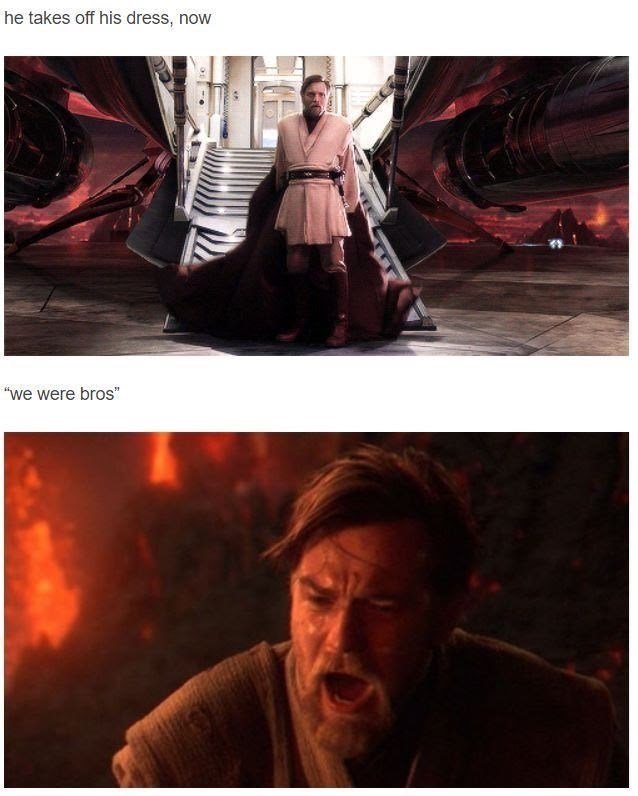 Mr Brightside Star Wars meme with Obi Wan getting prepared to fight