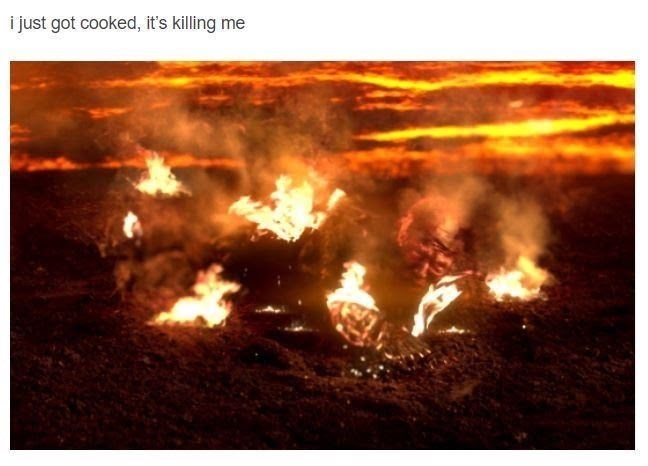 Mr Brightside Star Wars meme with Anakin's body getting burned by lava