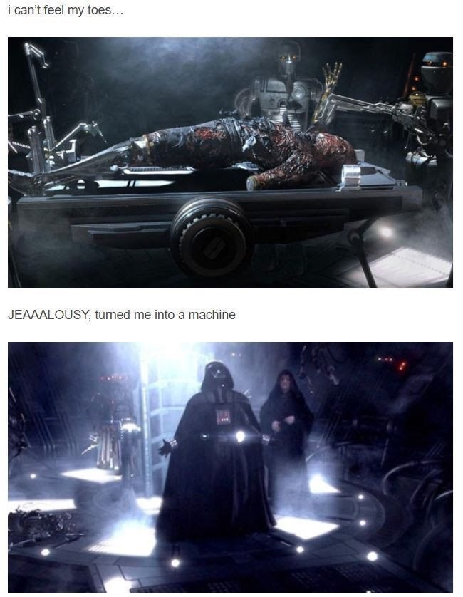 Mr Brightside Star Wars meme with Anakin being put inside the Darth Vader suit